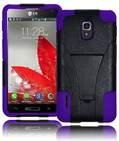 Hybrid  Defender Kickstand Case Cover+Purple Silicone - LG Optimus F7 US780 - BastexShop