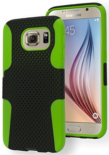 Galaxy S6 Phone Case,  Hybrid Protective  Neon Green Silicone Cover - BastexShop
