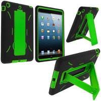 Hybrid Black and Neon Green Kickstand Case Cover iPad Mini - BastexShop