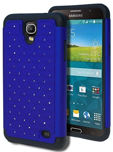Samsung Galaxy Mega 2 750F Hybrid  Black Cover  Blue Bling Case - BastexShop