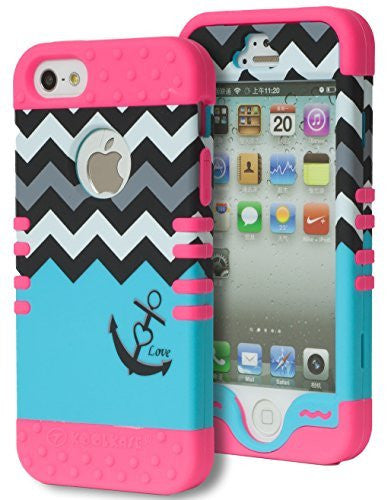 iPhone 5 Hybrid   Pink Cover  Chevron Blue Love Anchor Case - BastexShop