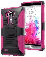 LG G4 Phone Case,    Hybrid Hot Pink Silicone Cover  Black - BastexShop