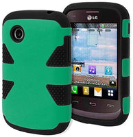 LG 306G Case,    Hybrid Dual Layer  Teal Silicone Cover Ha - BastexShop