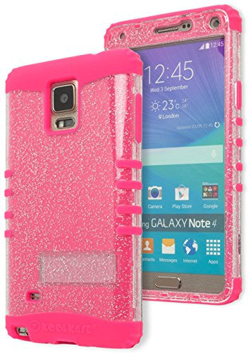 Galaxy Note 4 Phone Case,  Hybrid Hot Pink Silicone Cover  Clear Glitter Shell - BastexShop