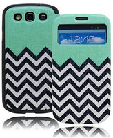 Samsung Galaxy S3 i9300, Teal with Chevron Design Flip Stand  Case Cover - BastexShop