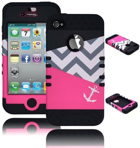 Hybrid Case  iPhone 4, 4S, 4th Generation - Black Silico - BastexShop