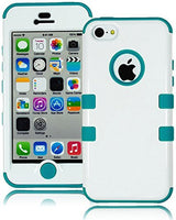 Hybrid Solid White Case Cover+Teal Blue Silicone Shell  iPhone 5C - BastexShop