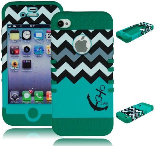 Green Silicone / Teal & White Chevron Pattern Hard Shell with Anchor & Heart Design for Apple iPhone 4/4s - BastexShop