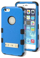 iPhone 6 Plus 5.5 Hybrid Black Silicone Cover with Neon Blue Kickstand Case - BastexShop