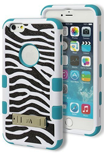 iPhone 6 5.5 Plus Hybrid Durable  Teal Cover BlackWhite Zebra  Case - BastexShop