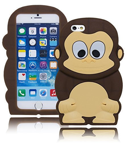 "Protective Durable Silicone  Brown Monkey Design Case  Apple iPhone 6, 4.7"" - BastexShop"