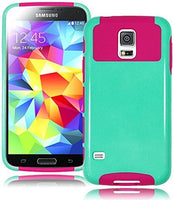 Hybrid Teal Blue and Pink Rubberized Case Cover  Samsung Galaxy S5, I9600 - BastexShop