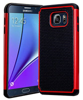 Galaxy Note 5 Case, Hybrid  Black Cover with Red Shock Armor Design Case - BastexShop
