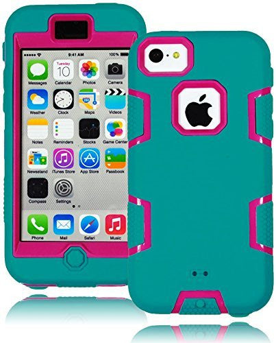 Hybrid  Teal Protective Case with  Hot Pink Silicone Cover  iPhone 5C - BastexShop