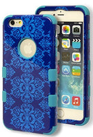 "iPhone 6 Plus, 5.5"" Hybrid Teal Silicone Cover with Blue Antique Design Case - BastexShop"