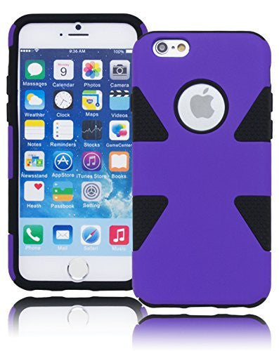 "Hybrid   Purple Protective Case Black Silicone Cover  iPhone 6, 4.7"" - BastexShop"