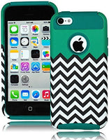 Teal Silicone Cover+Teal & Chevron Design  Hybrid Case  iPhone 5C,5th Gen