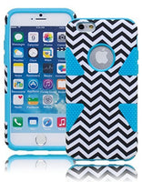 "Hybrid Protective Dynamic Blue Cover BlackWhite Chevron Case  iPhone 6, 4.7"" - BastexShop"