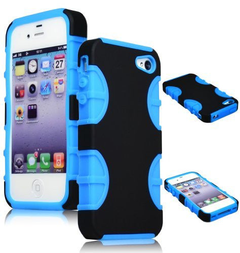 Sky Blue and Black Hybrid Case for Apple iPhone 4/4s