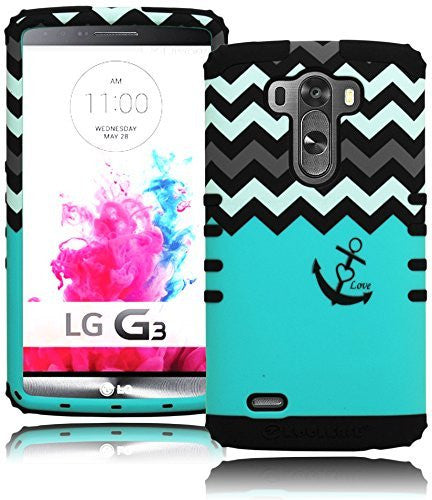 LG G3, Teal with Chevron Love Anchor Hybrid  Protective Case Cover - BastexShop