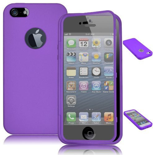 TPU Wrap Up Case  iPhone 5, 5G, 5S, 5GS - Purple Skin Cover + Built