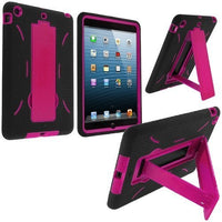 Apple iPad Mini Black/Hot Pink Hybrid Silicone Case Cover w Stand - BastexShop