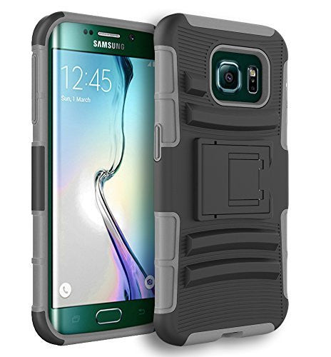 Galaxy S6 Edge Case,    Hybrid Protective Kickstand Holster Ca - BastexShop