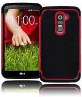 Black Silicone Grip Cover+Red   Hybrid  Case  LG G2 VS980 D800 - BastexShop
