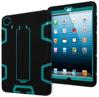 Teal/Black Silicone with  Kickstand Robotic Design Case iPad Mini 2