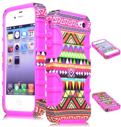 Hybrid Case  Apple Iphone 4, 4s, 4g - Hot Pink Silicone  Aztec Tri - BastexShop
