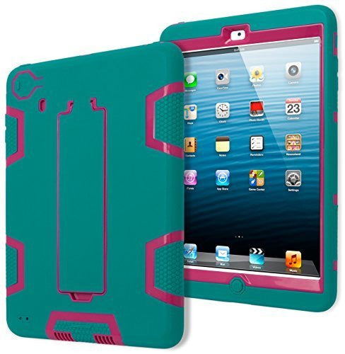 Purple/Teal Silicone with  Kickstand Robotic Design Case iPad Mini 2
