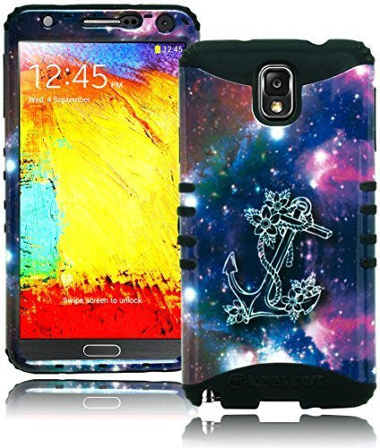 Samsung Galaxy Note 3, Hybrid Black with Space Anchor Protective Case Cover - BastexShop