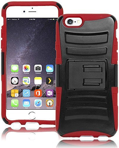 "Hybrid Black Kickstand Holster + Red Silicone  iPhone 6, 4.7"" - BastexShop"