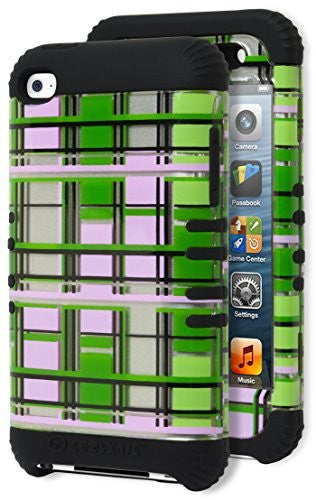 iPhone 4, 4s, 4g,   Hybrid Green and Silver Plaid Design Case Cover - BastexShop