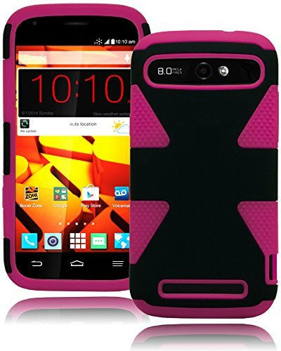Protective Hybrid Black and Hot Pink Case  ZTE Warp Sync N9515 - BastexShop