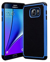 Galaxy Note 5 Case, Hybrid  Black Cover with Sky Blue Shock Armor Design - BastexShop
