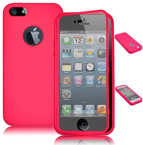 TPU Wrap Up Case  iPhone 5, 5G, 5S, 5GS - Pink Skin Cover + Built I - BastexShop