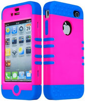 Dynamic Hybrid Case  Apple Iphone 4, 4s - Blue Silicone with  H - BastexShop