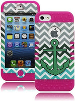 iPhone 5, 5S, 5G, Hybrid Pink Silicone with Chevron and Green Anchor Case - BastexShop