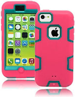 Hybrid  Teal Tron Case with  Durable Pink Cover  iPhone 5c, I5C - BastexShop