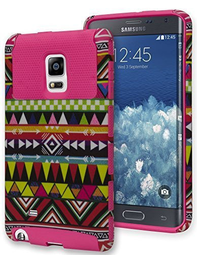 Samsung Galaxy Note Edge, Hybrid   Pink Silicone with Aztec Case - BastexShop