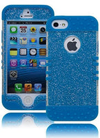 iPhone 5, 5S, 5G, Neon Blue with Glitter  Shell Design Protective Case - BastexShop