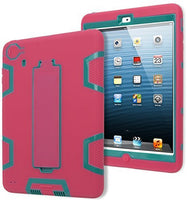 Teal/Pink Silicone with  Kickstand Robotic Design Case iPad Mini 2