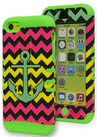 iPhone 5c,   Hybrid Green Cover with Chevron Anchor Kickstand Case - BastexShop