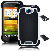 Double Layer  Hybrid Gel Case  Cover  HTC One S - Black & White - BastexShop