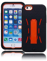 "iPhone 6, 4.7"", Black Silicone Cover with Orange  Case with Kickstand - BastexShop"