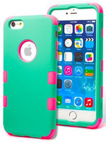 "iPhone 6 Plus, 5.5"" Hybrid Hot Pink Silicone with Teal  Shell Case Cover - BastexShop"
