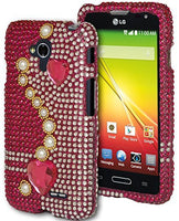 LG Optimus L7, Snap On Pink Bling with Hearts and Pearls Design Case Cover - BastexShop
