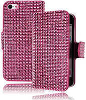 Leather Wallet Flip Case  iPhone 5C - Cotton Candy Pink Crystal Bling Cover - BastexShop