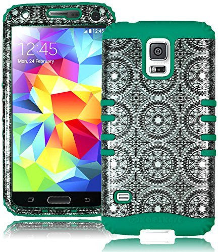 Antique Circle Design Hybrid Case+Teal Silicone Gel  Samsung Galaxy S5 i9600 - BastexShop